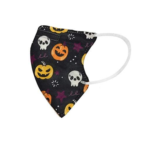 QIZHI 10PC Kid Halloween Pumpkin Stampato Maschere Monouso con Pennello Paraorecchie Maschere-That Bocca Viso Cotone, Tessuto Non Lavabile, Non Riutilizzabile per Ciclismo Campeggio