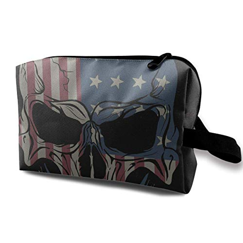 USA Flag and Skull Receive Bag Capacity Bags Pouch Wallet