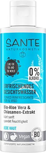 Sante Naturkosmetik, tonico rinfrescante per il viso, senza alcool, aloe biologica, ogni pelle, idratante, vegano, 1 x 125 ml