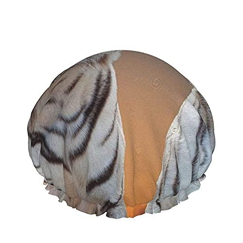 Cappello, con elastici regolabili, cappelli da bagno riutilizzabili per le donne, regolabili, impermeabili, cuffia per la doccia Sunset Tiger, capelli riutilizzabili da bagno