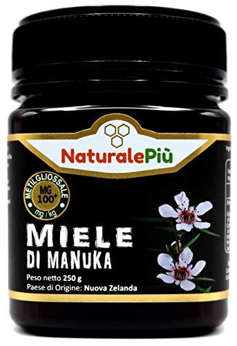 Miele di Manuka 100+ MGO 250 gr. Prodotto in Nuova Zelanda, Attivo e Grezzo, Puro e Naturale al 100%. Metilgliossale Testato da Laboratori Accreditati.