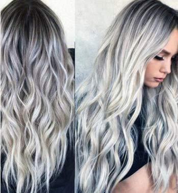 Ombre - Parrucca da donna con radici scure, ondulate lunghe, resistente al calore, per uso quotidiano, per feste, Halloween, colore: grigio scuro
