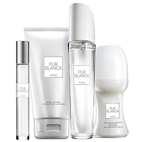 Avon Pur Blanca - Set profumo, 4 pezzi: spray Eau de Parfum, lozione per il corpo, deodorante, profumo floreale, sacchetto regalo natalizio
