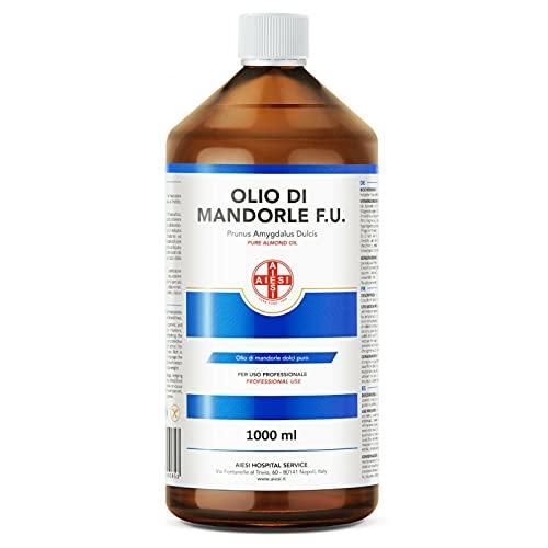 AIESI® Olio di Mandorle Dolci F.U. puro 100% spremuto a freddo per uso Farmaceutico Alimentare Cosmetico e Dermatologico flacone da 1 litro # Made in Italy