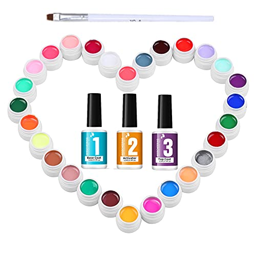 Smalti Semipermanenti Unghie, Anself 36 Colori Gel Unghie, 3-in-1 Attivatore, base e top coat, Gel Unghie, Kit Smalto Semipermanente per Nail Art, con 1Pz pennello