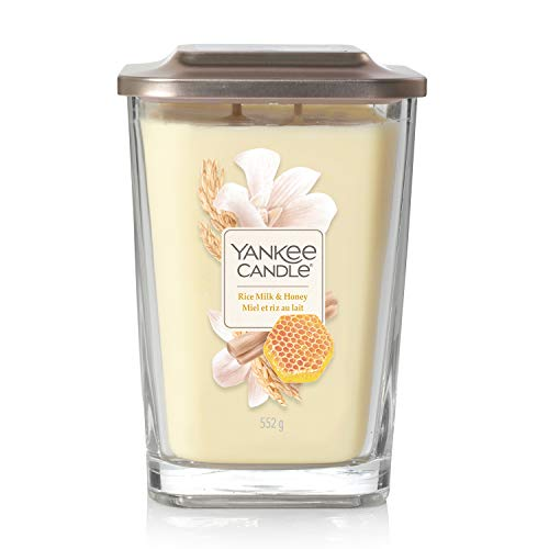 YANKEE CANDLE Elevation Collection Vaso Quadrato, Latte di Riso e Miele, Grande