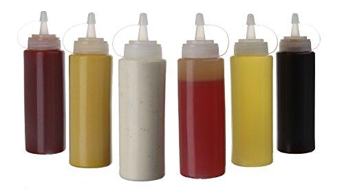 6 flaconi da 250 ml in plastica con tappo a vite, contenitori per ketchup, senape Mayo, olio di oliva, trasparente, senza BPA, per condimenti