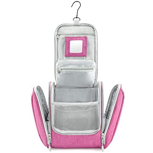 GO!elements® borsa da toilette per appendere uomini e donne | borsa cosmetica grande uomo donna per valigie e bagagli a mano | borsa da viaggio wash bag, Color:Rosa