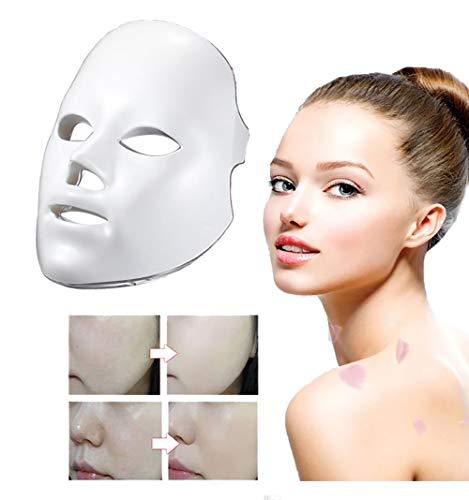 Maschera per terapia con fotone LED, 7 colori, trattamento della luce, acne, rughe, ringiovanimento della pelle, sbiancante, cura della pelle del viso