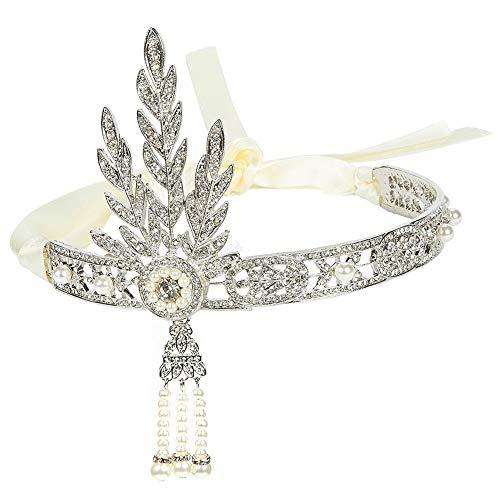 BESTZY Fascia Anni 20 Gatsby Flapper Headband, Fascia in Stile Vintage con Motivi a Foglie Strass Nuziale di Cristallo Fascia Capelli per Spose e Feste di Matrimonio