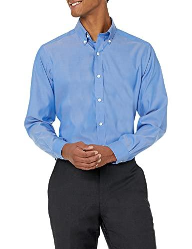Marchio Amazon - Buttoned down, camicia da uomo, aderente, con colletto a bottoni, tinta unita, in cotone Supima, non necessita di stiratura, Blu (french blue), 16.5' Collo 32' Manica