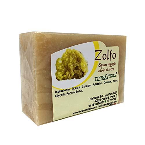 Sapone allo Zolfo - Sapone Artigianale 100% naturale e vegetale - Saponetta allo zolfo rinfrescante ideale per pelli grasse - Consigliato contro bolle ed irritazioni cutanee