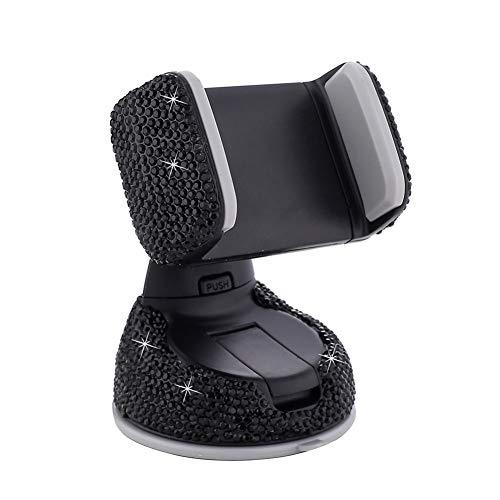 Staffa a Ventosa per Uscita Aria,Supporto in Cristallo per Telefono per Auto Supporto per Ventosa con Strass Glitter Presa d'aria Universale Regolabile a 360 Gradi per iPhone Cellulare Android