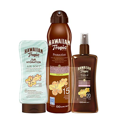Hawaiian Tropic PACK Total Abbronzatura - Olio Solare in Spray a Vaporizzazione Continua SPF 15, 180ml + Olio Solare Secco Protettivo Spray SPF 20, 200ml + Dopo Sole Air Soft Silk Hydration, 180ml