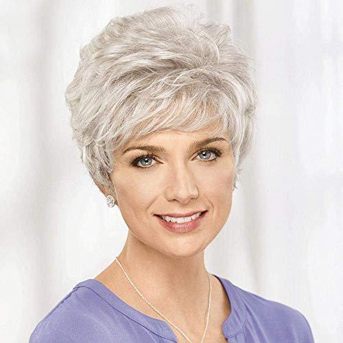 HAIRCUBE Parrucche per capelli umani grigio argento corto per parrucche per donna con taglio leggero, taglio naturale, capelli naturali giornalieri (colore 101#)