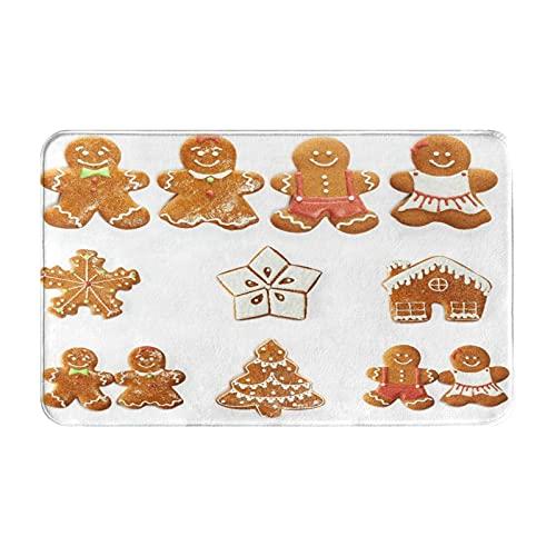 NANITHG Tappetini da Bagno per Bagno,Biscotti di Pan di Zenzero di Natale Insieme Isolato su Bianco,Tappetinida Bagno Antiscivolo con Assorbente d'Acqua,Tappetino per Pediluvio Morbido