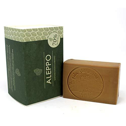 Sapone di Aleppo Originale con 70% Olio d'Alloro - Ricetta Tradizionale - Aleppo Puro e Naturale 100% - Prodotto Artigianalmente - Sapone Prezioso per il Trattamento della Pelle