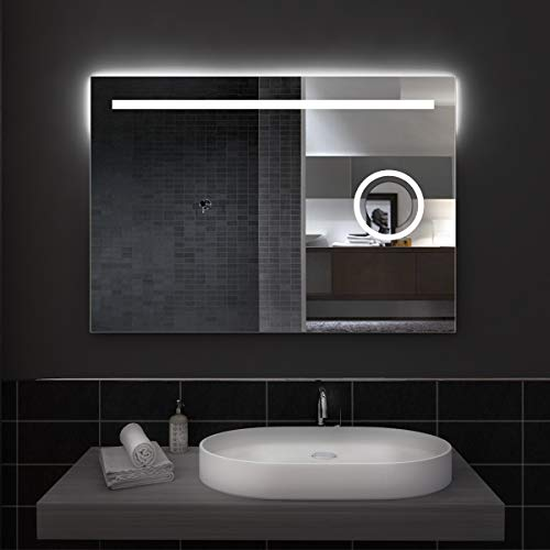 styleglass Specchio Bagno Rettangolare Sydney 100x70cm, con Specchio ingranditore Retroilluminato, Specchio Made in Italy, Telaio in PVC, Kit Fissaggio Murale Incluso, Grado di Protezione IP20