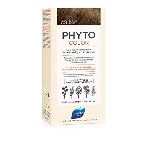 Phyto Phytocolor 7.3 Biondo Dorato Colorazione Permanente senza Ammoniaca, 100 % Copertura Capelli Bianchi