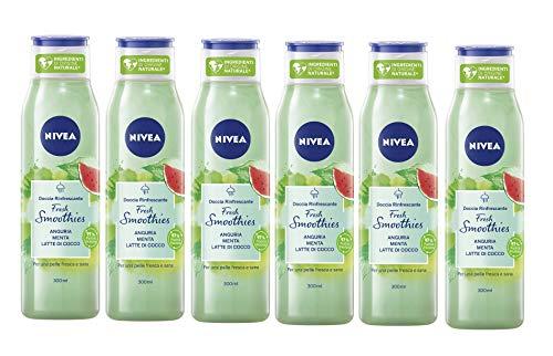 NIVEA Doccia Rinfrescante Fresh Smoothies Anguria & Menta in confezione da 6 x 300 ml, Docciaschiuma con ingredienti di origine naturale e vegani