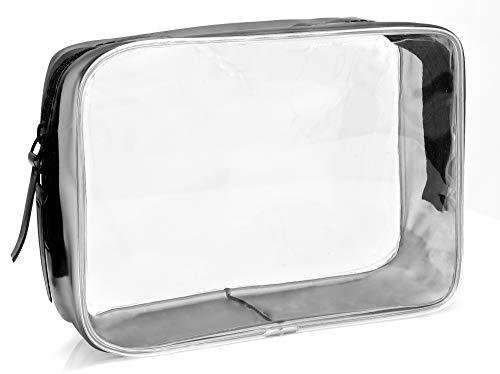 MyGadget Busta Trasparente da Viaggio per Aereo - Beauty Case Waterproof con Cerniera - Pouch da Viaggio per Cosmetici Liquidi Contenitore - Borsa Taglia M