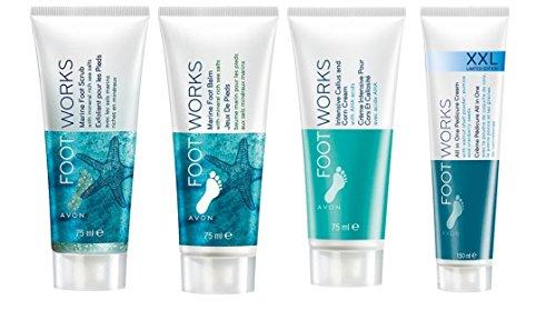 Avon Footworks set, 4pezzi inclusi XXL 150ml pedicure crema, marine Foot Balm, marine scrub e intensivo crema calli e Corm