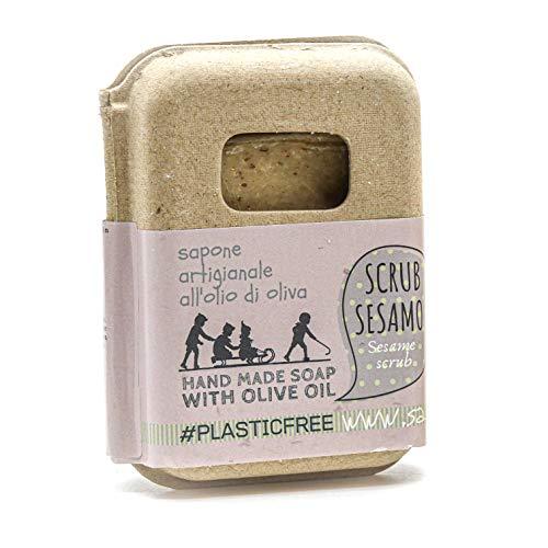 Saponetta Artigianale e 100% Naturale - Sapone per Viso, Mani, Corpo e Capelli - Scrub Naturale - 100 g, Sesamo