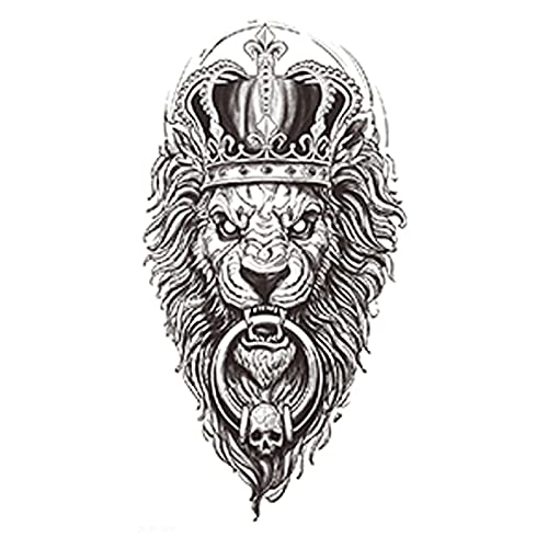 JZLMF WindJZLMF - Adesivo per tatuaggi, motivo: testa di leone, corona di flut, con fiori e gambe di fiori, impermeabile, resistente