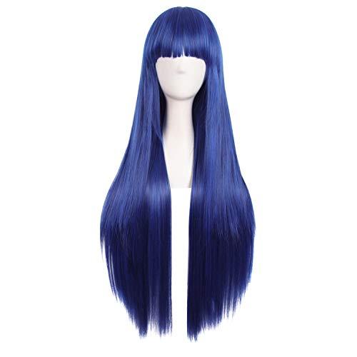 MapofBeauty 80cm/ 31 Pollice Lungo Lisci Donna Lisci Parrucche (Scuro Blu+Nero)