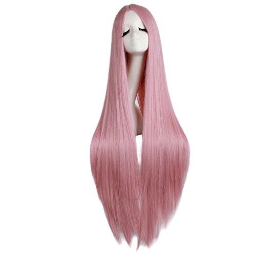 MapofBeauty 100cm/ 39 Pollice Medio Lisci Donna Lisci Parrucche (Rouge Rosa)