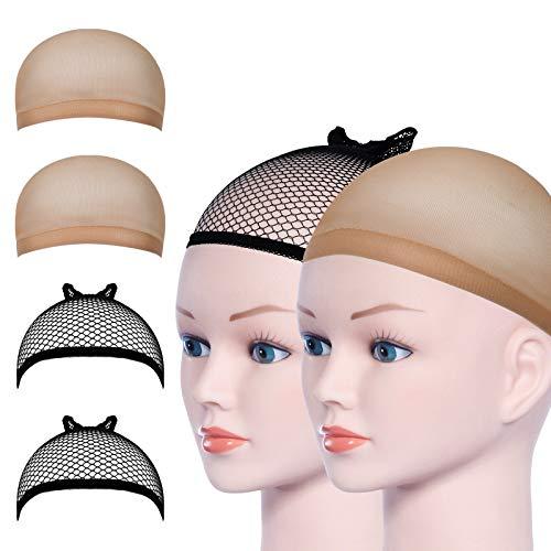 URAQT Parrucca Tappi, 4 Pezzi Calotte per Parrucche di Nylon, Unisex Copricapo Elastici a Rete, Copricapo di Parrucche per Uomini e Donne, nude e nero