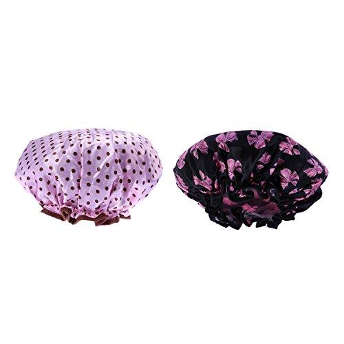 frcolor cuffie da doccia, cuffia da bagno a farfalla impermeabile, cuffia da bagno a pois per donna, 2 pezzi
