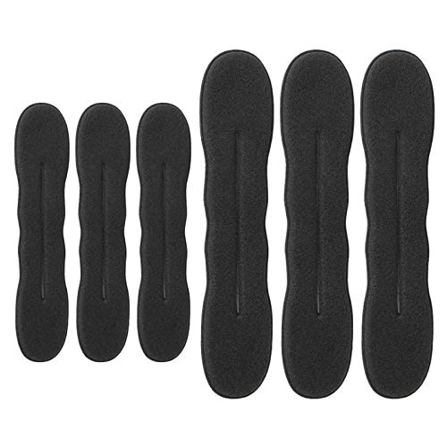 6 pezzi tagliacapelli versione aggiornata forcina spugna clip per capelli styling ciambella capelli twist wreath strumento ciambella, 3 grandi e 3 piccoli (nero)