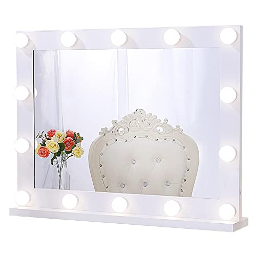 Chende Hollywood Specchio per Il Trucco con Lampade da Appendere alla Parete, Specchio per Il Trucco Illuminato da Tavolo con 3 Colori, Specchio Grande Professionale per Teatro con 14 Luci a