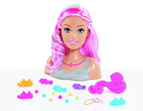 Barbie, testa da parrucchiere Dreamtopia, capelli arcobaleno, 22 accessori per capelli inclusi, giocattolo per bambini dai 3 anni
