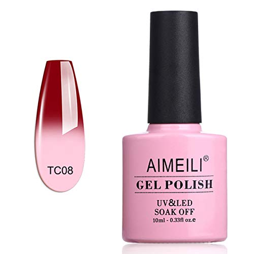 AIMEILI Smalto Semipermente Soak Off UV LED Smalti per Unghie in Gel per Manicure che Cambia Colore con la Temperatura - Red Horizon (TC08) 10ml