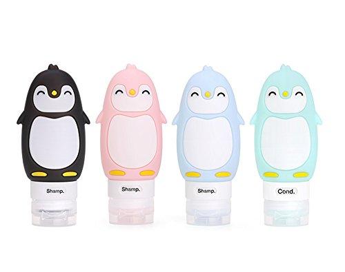 Set di bottiglie di viaggi, FantasyDay Contenitori da Viaggio in Silicone per Shampoo, Balsamo, Crema, Lozione, Gel Doccia - Senza BPA, Approvato dalla FDA - Travel Bottle (4 pack) (90ml)