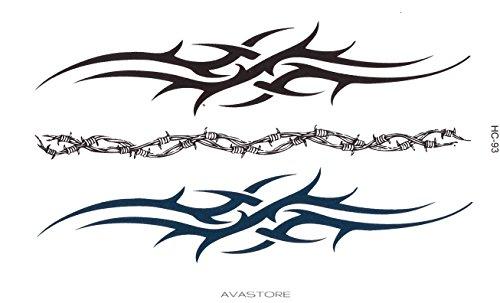 AVASTORE - Tatuaggio temporaneo da uomo, bracciale tribale, con 3 braccialetti tribale, colore: nero, 1 blu