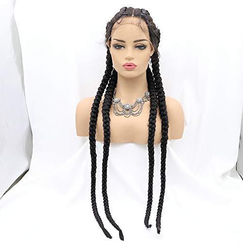 Sylvia - Parrucca da donna con 4 trecce, colore nero, con trecce e trecce