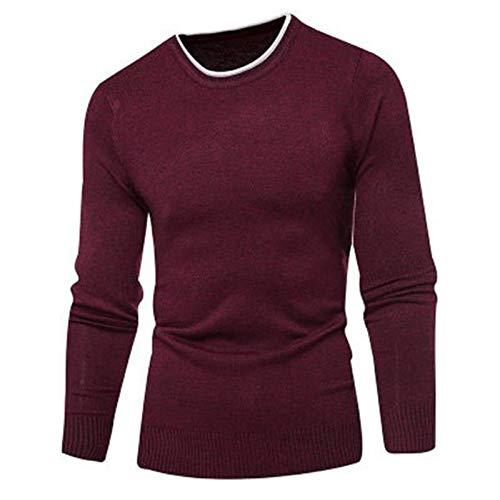 Lushi Autunno Nuovi Uomini Moda Casual Girocollo Pullover Maglione Maglione Rosso M