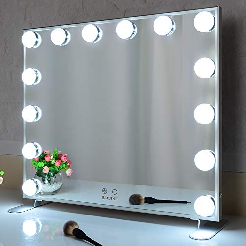 BEAUTME Mirrors Makeup Hollywood con luci a LED, Touch Control Large Vanity Mirror, Alluminio Frame Table o Wall Mirror(Argento)