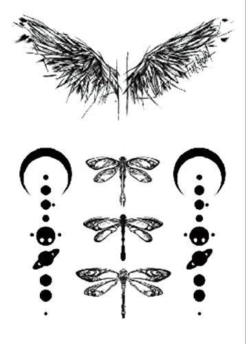 Ala Libellula Adesivi Per Trasferimento Di Tatuaggi Temporanei Body Man Donna Impermeabile Rimovibile Sicuro Per Tutta La Pelle Festival 21X15Cm 5 Pcs