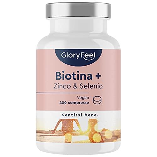 Integratore Biotina, Zinco & Selenio, 400 compresse (Scorta 1+ Anno), Integratore Capelli, Pelle e Unghie con Vitamina B7, Rinforzo & Crescita Unghie e Capelli, Vegan