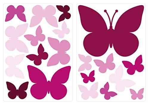 dekodino® Adesivo murale farfalle orchidea camera ragazzo decoro set