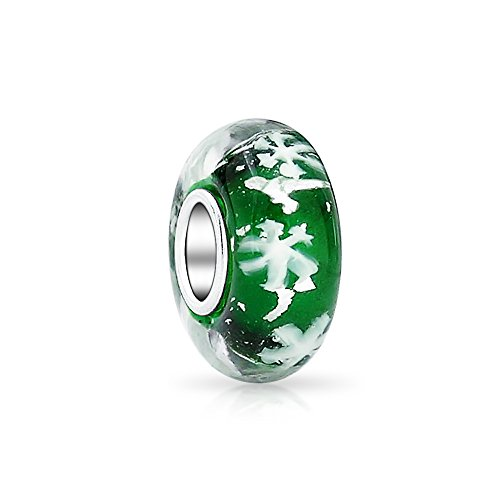 Green White Snowflake Murano Glass 925 Sterling Silver Core Spacer Bead Fits European Charm Bracelet For Women For Teen
