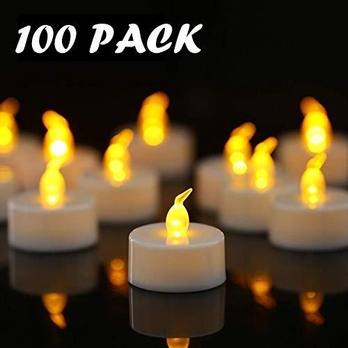YIWER Candele a LED,portò Candele Flickering flameless Candele,100 Pezzi Realistico a Batteria Falso Candela Calda Luce Bianca del bulbo,Ultimi 100 + Ore