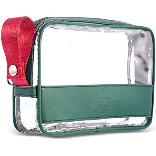 Saint Maniero ® Trendy Borsa da toeletta trasparente da bagaglio a mano–maggiore volume accettabile per il controllo di sicurezza–spazio ben organizzato mediante fondo piano–colori diversi (Verde)
