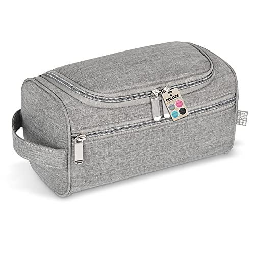 GO!elements® Beauty Case uomo & donna | borsa da toilette per uomini & donne appesi | borsa cosmetica uomo donna per valigie & bagaglio a mano | borsa da viaggio per lavaggio, Color:Grigio