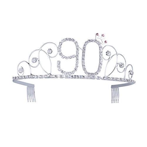 Frcolor, corona per compleanno, 90 anni, diadema con pettine per capelli in cristallo e strass in argento, regalo di compleanno 90 anni per donne
