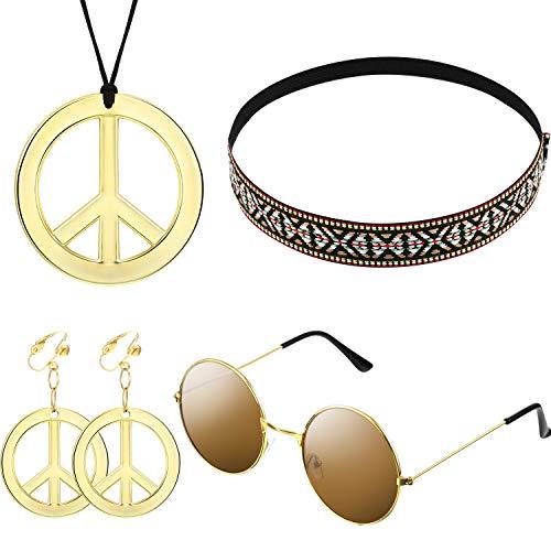 Hippie/Bohemia Costume Set Pace Set, Comprende Occhiali da Sole, Collana e Fascia per Accessori per Feste Anni '60 '70(Stile Bohemien A, 4 Pezzi)
